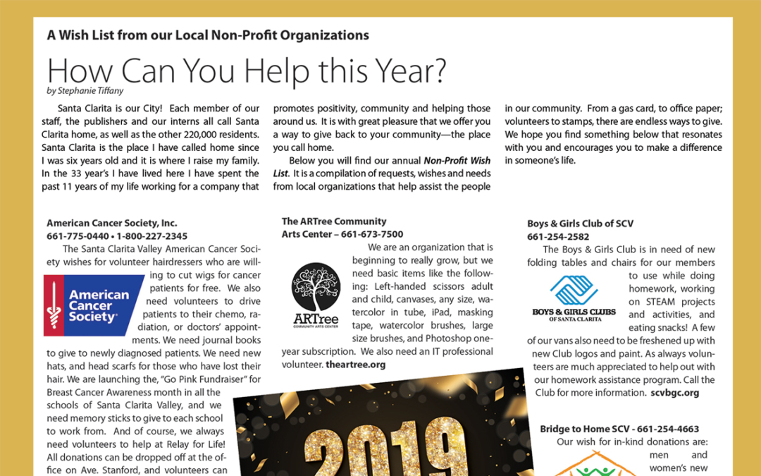 Are you a local Non-Profit? We want your New Year's Wish List for 2020