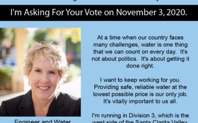 Vote Maria Gutzeit For SCV Water Support Maria Gutzeit for Re-Election to the SCV Water Agency Board of Directors